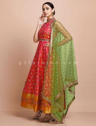 Red designer set in patola silk for wedding