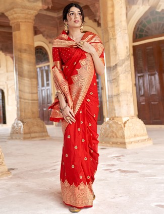 Red excellent silk saree for wedding function