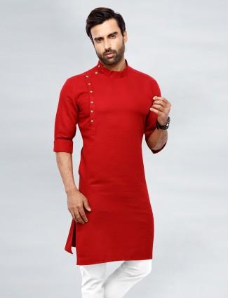 Red festive special cotton kurta