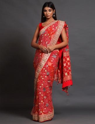 Red festive wear banarasi silk saree