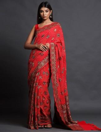 Red festive Wear Saree In Bandhej Silk