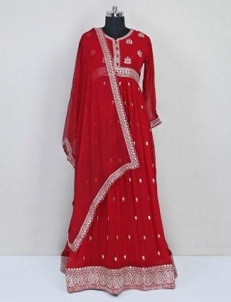 Red floor length anarkali suit for reception