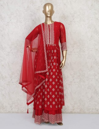 Red georgette anarkali style sharara suit