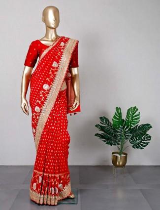 Red georgette festive wear saree for women