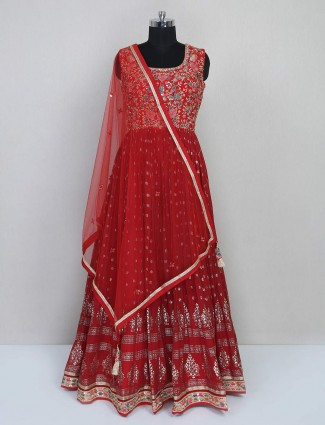 Red georgette floor-length Anarkali dress