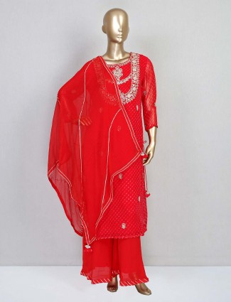 Red georgette palazzo suit for festive wear
