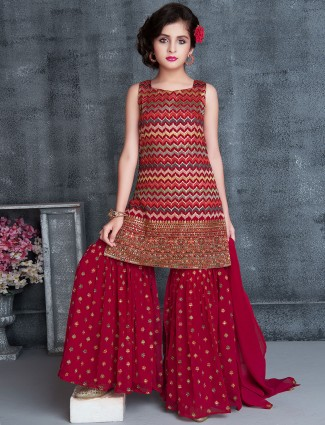 Red georgette party wear girls sharara suit