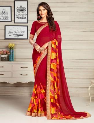 Red georgette regular wear printed saree