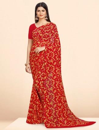 Red georgette saree in floral printed