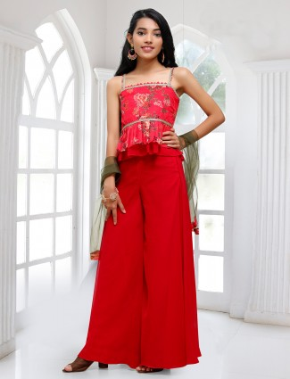 Red georgette wedding wear palazzo suit for girls