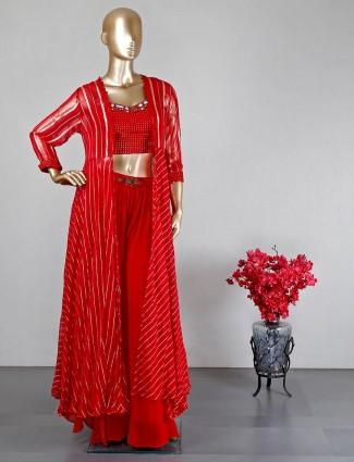 Red Georgette wedding wear sharara salwar suit