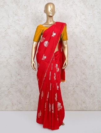 Red gotta patti dola silk saree for weddings