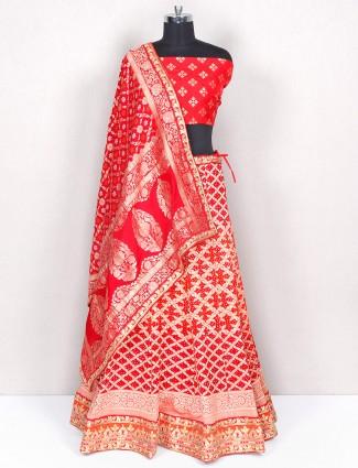 Red gotta work lehenga choli for wedding