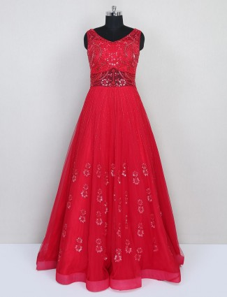 Red gown for women in net for wedding