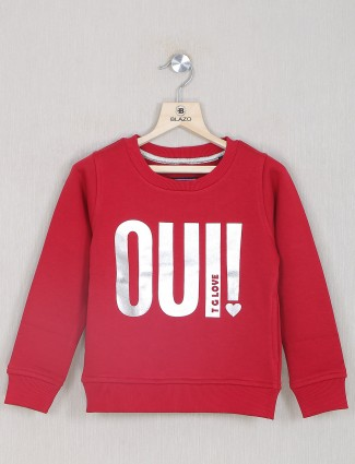 Red hue casual top for girls