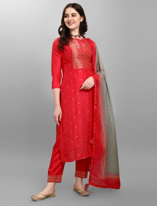 Red hue festive sessions pant set with zari work details