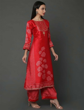 Red hue silk festive wear palazzo suit