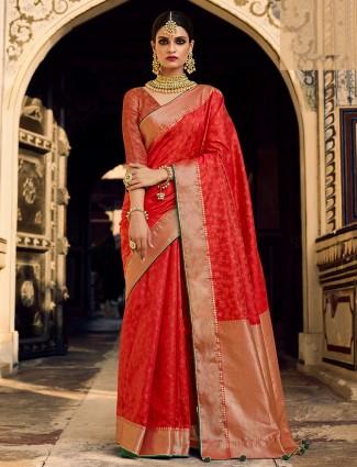 Red innovative wedding wear printed silk saree with zari details