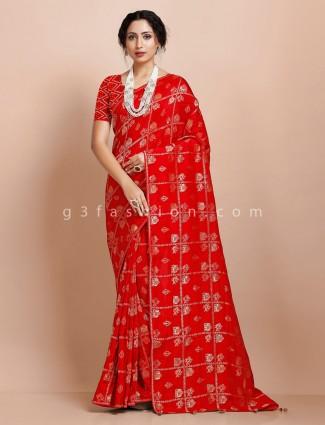 Red muga silk wedding wear exclusive saree