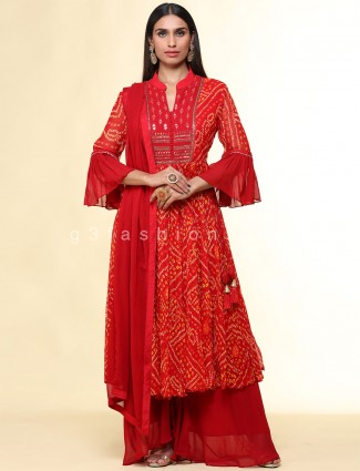 Red palazzo suit for festive sessions