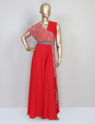 Red party wear indowestern suit