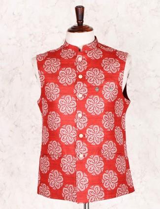 Red party wear mens cotton silk waistcoat