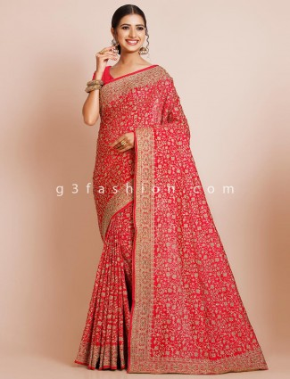 Red party wear saree for women in silk
