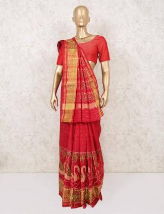 Red patola silk saree for wedding days