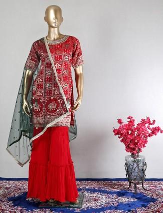 Red patola silk wedding wear salwar suit