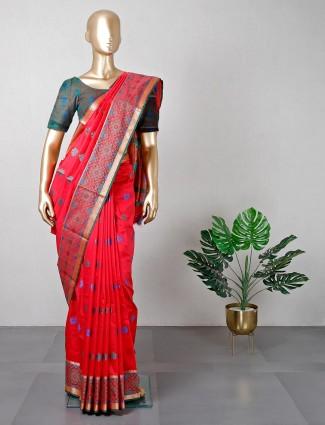 Red patola silk womens saree