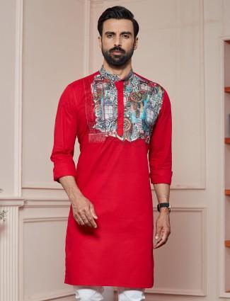 Red printed cotton kurta for men