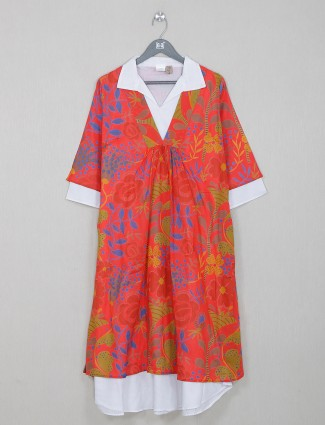Red printed cotton kurti for casual day outing