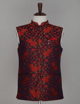 Red printed cotton mens waistcoat for parties