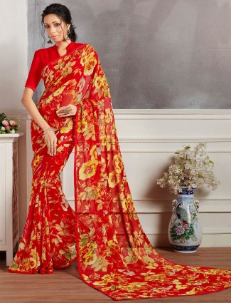 Red printed saree in georgette for women