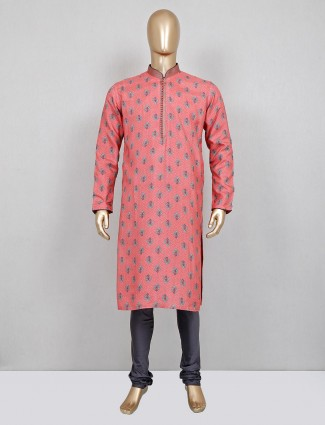 Dark pink printed silk festive wear kurta suit