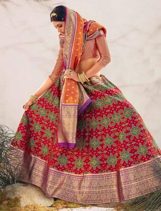 Red printed unstitched patola silk lehenga choli for wedding