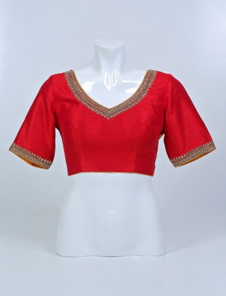 Red raw silk diamond decorated blouse for women