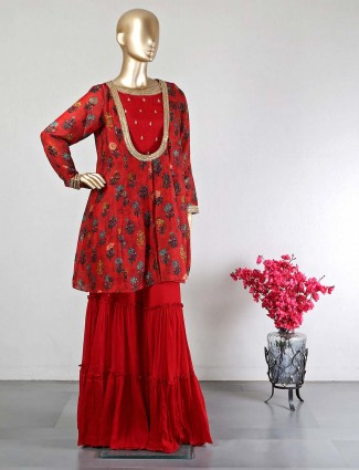 Red raw silk jacket style sharara suit