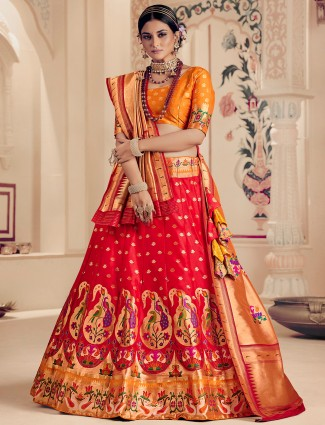 Red rich color beautiful banarasi silk lehenga choli