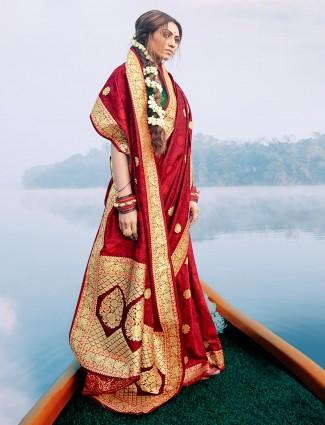 Red saree for wedding session in banarasi silk