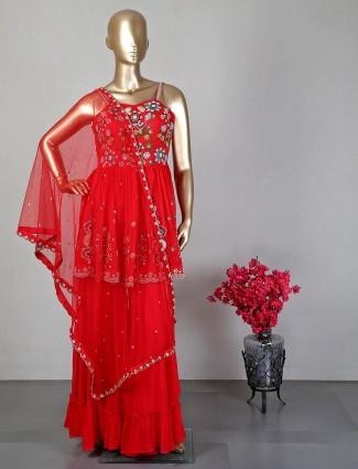 Red sharara suit for wedding function