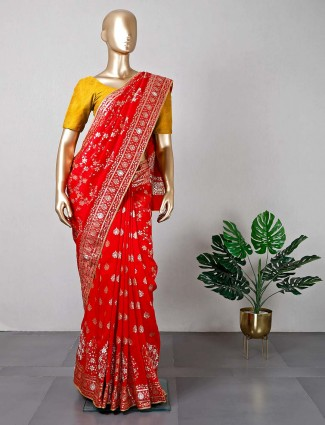 Red silk saree for wedding functions