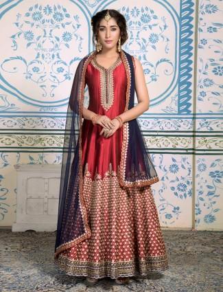 Red silk wedding floor length anarkali salwar suit