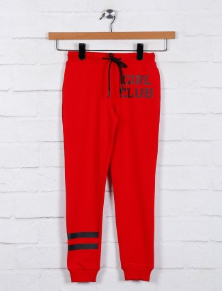 Red solid girls jeggings in cotton