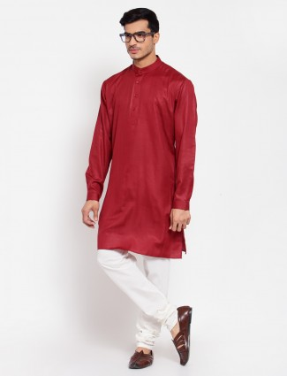 Red solid style cotton kurta suit for men