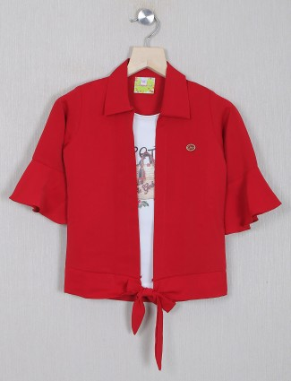 Red solid style top for girls