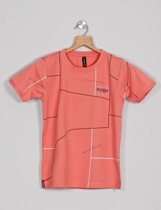Red Sound onion pink cotton printed t-shirt