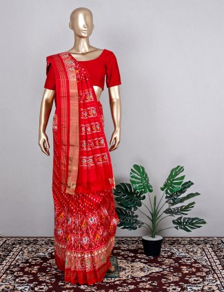 Red traditional patola silk saree for wedding wear