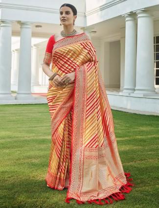 Red traditional silk wedding saree