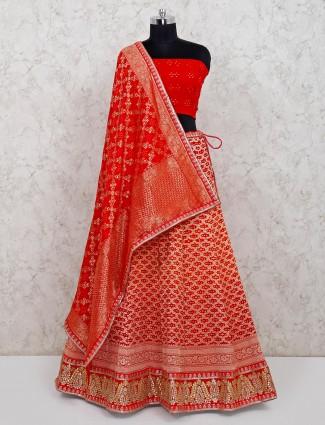 Red unstitched bandhej georgette bridal lehenga